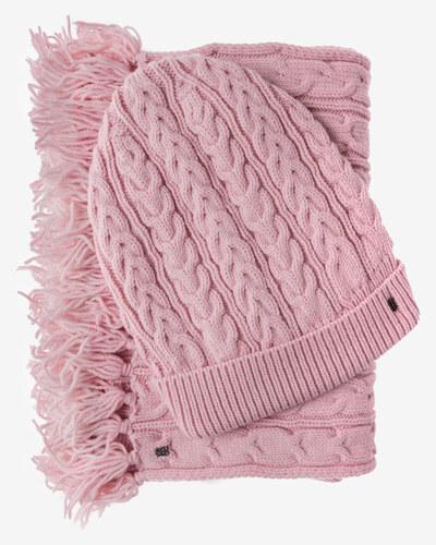 504f4e9508d Tommy Hilfiger dámská sada čepice a šály růžové barvy - Glami.cz