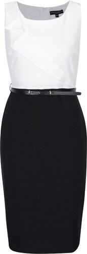 ab4d0dc7b1a Bílo-černé pouzdrové šaty s páskem a volánem Dorothy Perkins - Glami.cz
