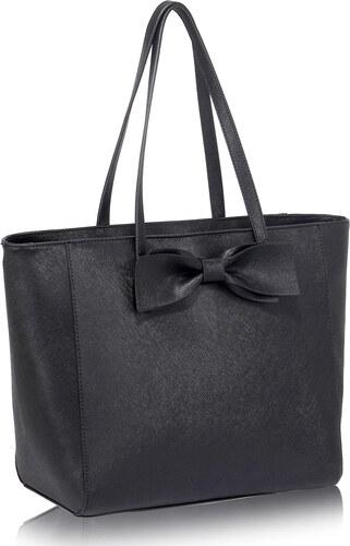 L S Fashion (Anglie) Levná černá kabelka s mašlí do ruky i na rameno LS00275 01978a74135