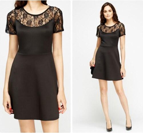 280897fa8f85 BELLA MODA London Dámské černé krajkové šaty do áčka - Glami.cz