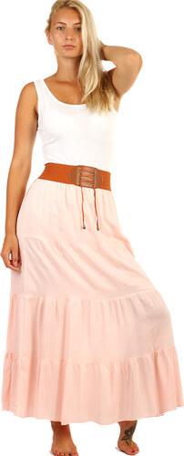 YooY Dámská maxi sukně s ozdobným pasem (světle růžová 5aabe321f1