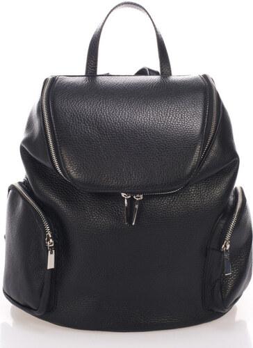 7368247bd90d Černý kožený batoh Lisa Minardi Mardi - Glami.cz