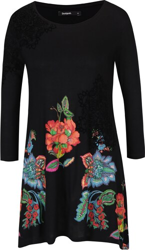 Černé volné květované tričko s tříčtvrtečním rukávem Desigual Amona ... cc372d7554