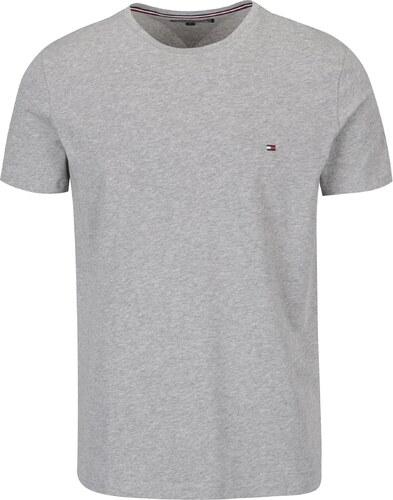 Sivé pánske basic tričko s krátkym rukávom Tommy Hilfiger New Stretch 99dcf51ad9a