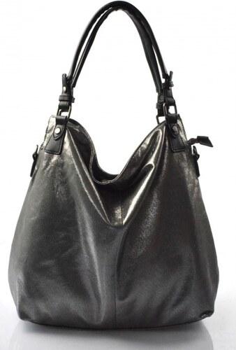 164ab1940e ... moderní lesklá šedá se stříbrnou kabelka na rameno angelica Valeria  29687