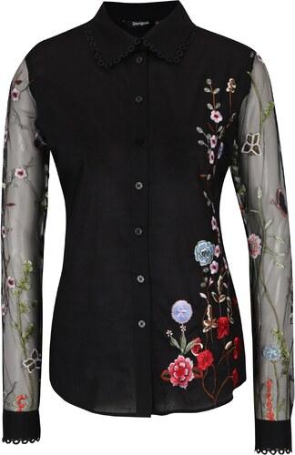 54f446a186b1 Čierna košeľa s priesvitnými rukávmi a výšivkami Desigual Florinda ...