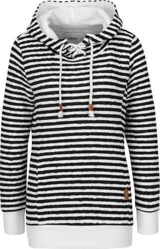 Čierno-krémová pruhovaná mikina so šnurovaním a kapucňou ONLY Sandra ... b53126d7c15