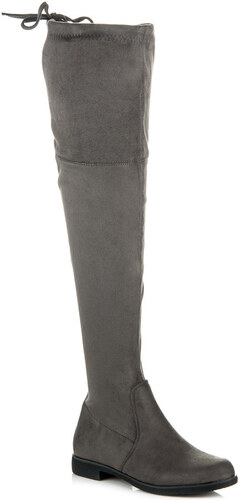 dbfa61503af05 VINCEZA Elegantné vysoké šedé semišové čižmy - Glami.sk