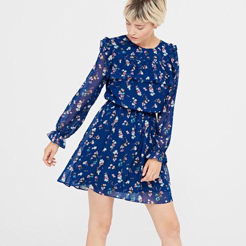 cb2c256e0a2b Cropp - Šaty s kvetinovým vzorom - Tmavomodrá - Glami.sk