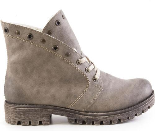 Rieker - Dámské zateplené kotníkové boty na nízkém podpatku šíře G 785B9-64    béžová 71fe98ddca