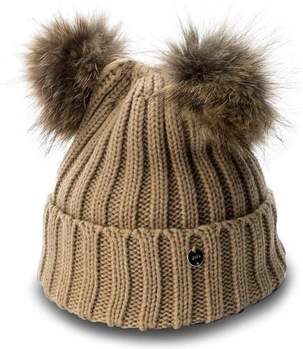 Čiapka dámska LIU JO - Cappello Due Ponpon N67285 M0300 Biscuit 61320 b4350979f9a