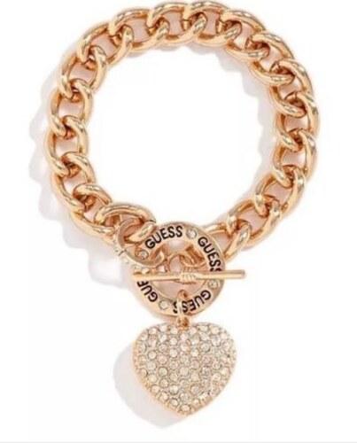 GUESS náramok Rose Gold-Tone Rhinestone Heart  746957dba4a