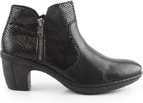 0ed1e7a3cdd Rieker - Dámské zateplené kotníkové boty na středním podpatku šíře G 50288- 00   černá