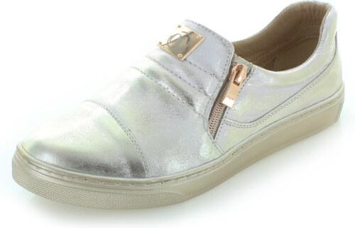 7a78836aeb33 Olivia Shoes Zlaté kožené slip-on tenisky Edlin - Glami.sk