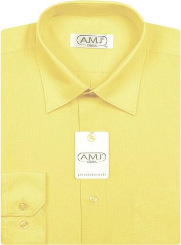 Pánská košile AMJ Classic - světle žlutá - Glami.cz 3fcaa9a0bb