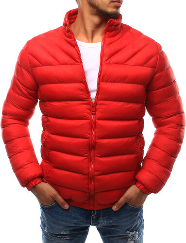 Červená pánska prešívaná bunda bez kapucne (tx1721) odtiene farieb  červená 2d17498973b