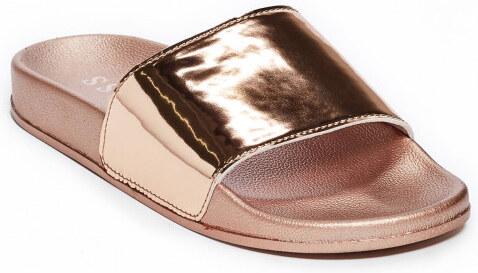 bbd95858ff GUESS Dorien Rose Gold Slide Sandals - rose gold - Glami.cz