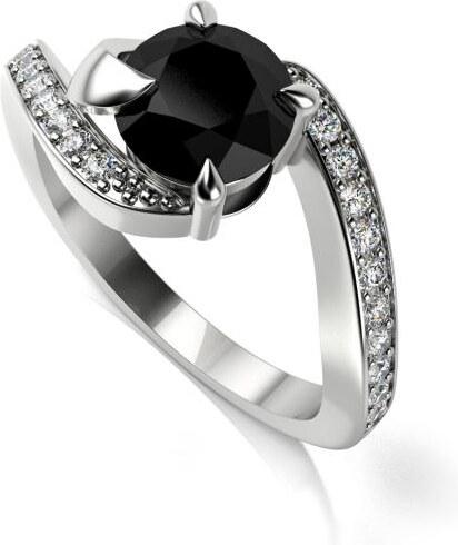 Eppi Zásnubní platinový prsten s černým a bílými diamanty Ruth ... 423e8d02606