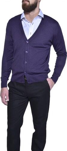 380030ec9872 Alain Delon Fialový sveter na gombíky - Glami.sk