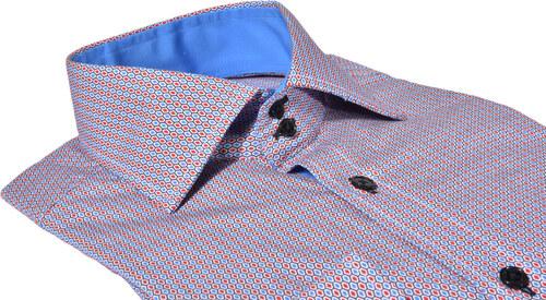 f388e088f1e5 Alain Delon Červeno - modrá Extra Slim Fit košeľa s printom - Glami.sk