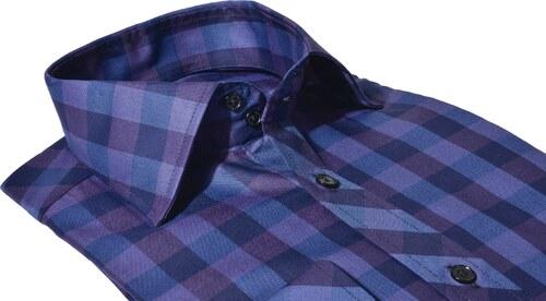 ce3580f4e6a4 Alain Delon Fialová károvaná Extra Slim Fit košeľa - Glami.sk