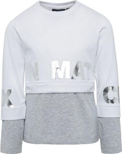 e6c2fedf7ff2 Sivo-biele dievčenské tričko s dlhým rukávom Mix´n Match - Glami.sk