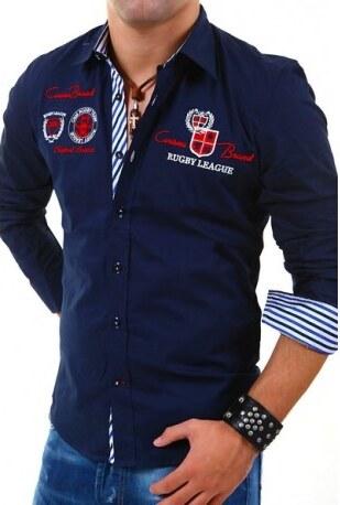 87291d3ee73 Pánská košile s dlouhým rukávem zdobená nápisy tmavě modrá Rusty Neal 8004