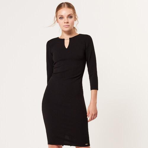 62f15a22e4f Mohito - Elegantní úzké šaty s bižuterijním zdobením - Černý - Glami.cz