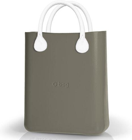 O bag šedé kabelka O Chic Rock s bílými krátkými koženkovými držadly ... b618a933217