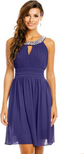 MAYAADI Společenské a plesové šaty šifonové zdobené kameny středně dlouhé  modré 7f6570774a