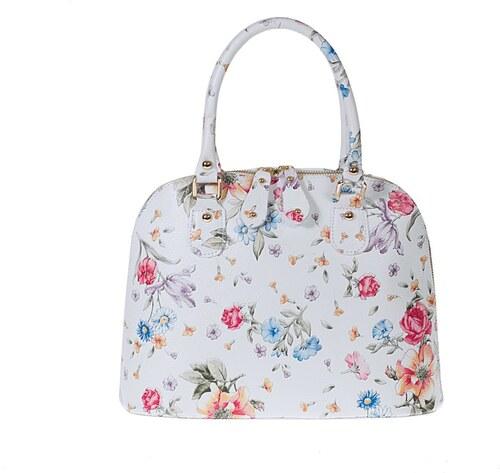 Biela kožená kabelka s kvetinovou potlačou Pitti Bags Bonita - Glami.sk afb9e35254d