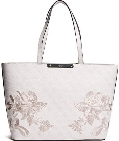 e11869be1e Kabelka Guess Britta Embroidered Logo Tote cement - Glami.cz