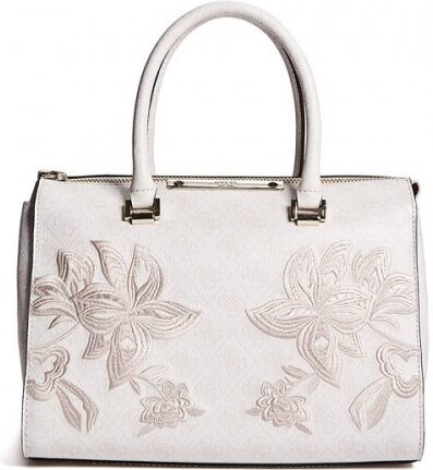 b944e79597 Kabelka Guess Britta Embroidered Logo Satchel cement - Glami.cz