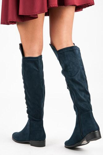 e6e8b5992c VINCEZA Elegantné vysoko modré semišové topánky - Glami.sk