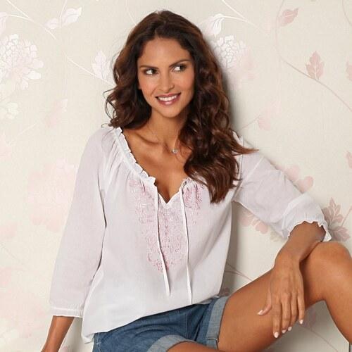 Vypredaj-zlavy.sk Blúzka s výšivkou biela ružová výšivka - Glami.sk 5f9c6b32e50