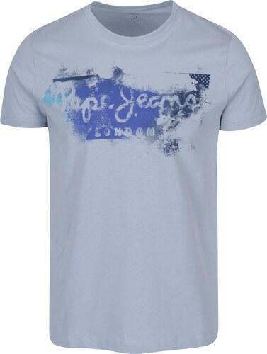 Světle modré pánské tričko s potiskem Pepe Jeans Goodge - Glami.cz 85bac9be33