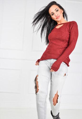 e1782321183b Dámský červený svetr s průstřihem SWET31 odtiene farieb  červená ...