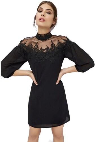 LITTLE MISTRESS Černé šifónové šaty s ozdobným mesh dekoltem a zády ... 1b1d25c548