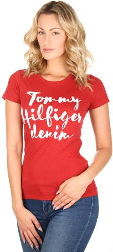Tommy Hilfiger dámské červené tričko Basic - Glami.sk b6e77dbd17a
