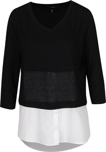 6f20223c2f77 Čierno-biela blúzka so všitou košeľovou časťou Yest - Glami.sk