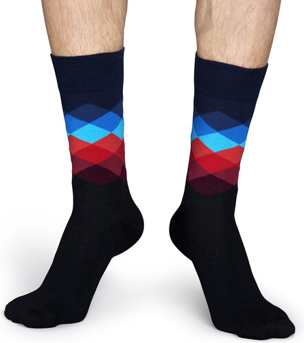 fec8bf1ac5c Černé ponožky Happy Socks s barevnými kosočtverci
