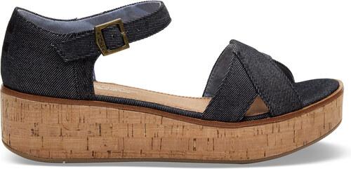 bfeb3d6e1b17 Dámske čierne sandálky na platforme TOMS Denim Harper - Glami.sk