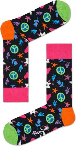 b4a796275a0 Černé ponožky Happy Socks s barevným vozrem Peace and Love - S-M (36 ...