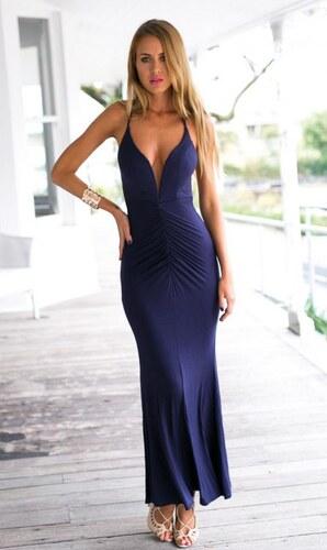 189aa8a6ba51 ZAZZA Dlhé modré spoločenské šaty s holým chrbtom - Glami.sk