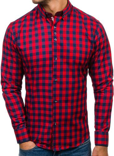 1eee24272b0 Pánská červená kostkovaná košile s dlouhým rukávem Bolf 5816 - Glami.cz