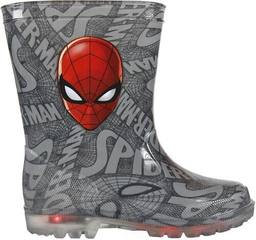 Disney Brand Chlapčenské svietiace gumáky Spiderman - šedé - Glami.sk aee51abb34b