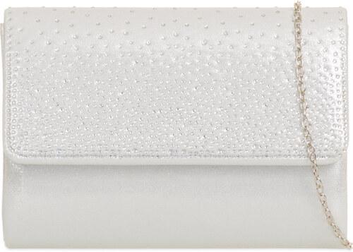 5bae8439c1 Listová kabelka vykladaná kamienkami K-H729 biela - Glami.sk