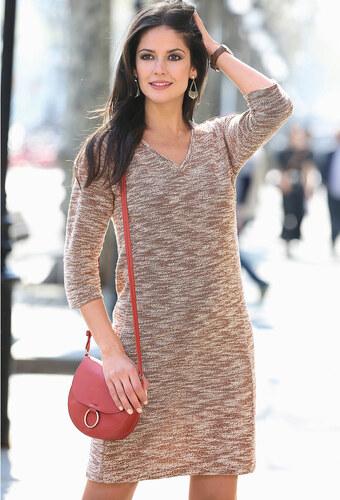 7dc2ec596704 Vypredaj-zlavy.sk Meltonové striekané šaty s 3 4 rukávmi hnedá XL ...