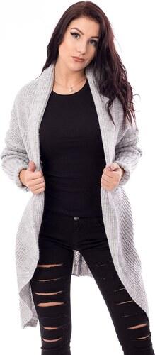 V V Dámsky dlhý pulovr- šedý - Glami.sk 56fe3704f70