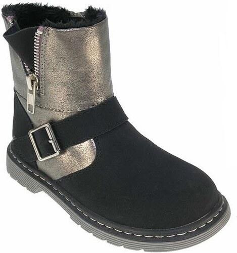 Beppi Dívčí kotníkové boty s kožíškem a zipem - černé - Glami.cz b35d3d339b